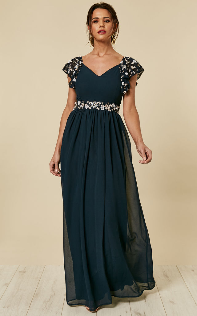 Billie Embellished Evening Occasion Maxi Dress In Navy ... - photo#14