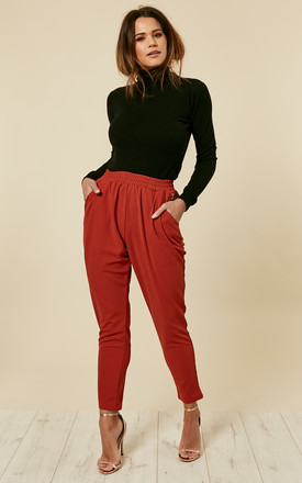 Dark Burnt Orange Elasticated Trousers by ANGELEYE