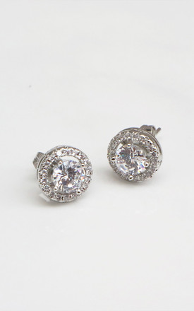 Silver Cubic Zirconia Stud Earrings by Rani & Co. Product photo