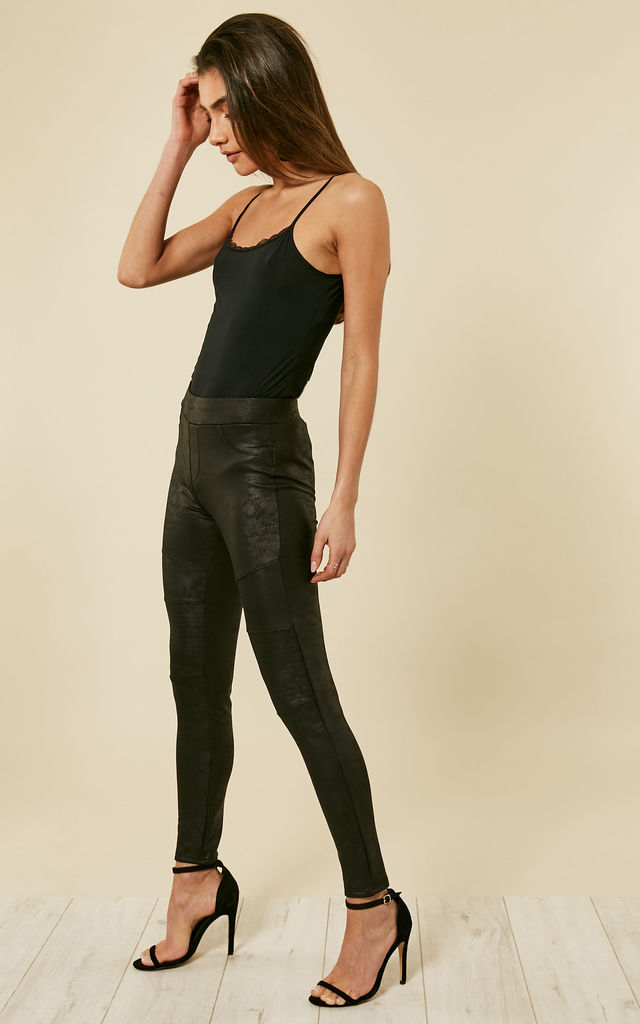 Black Ribbed Knee Leggings by Bella and Blue