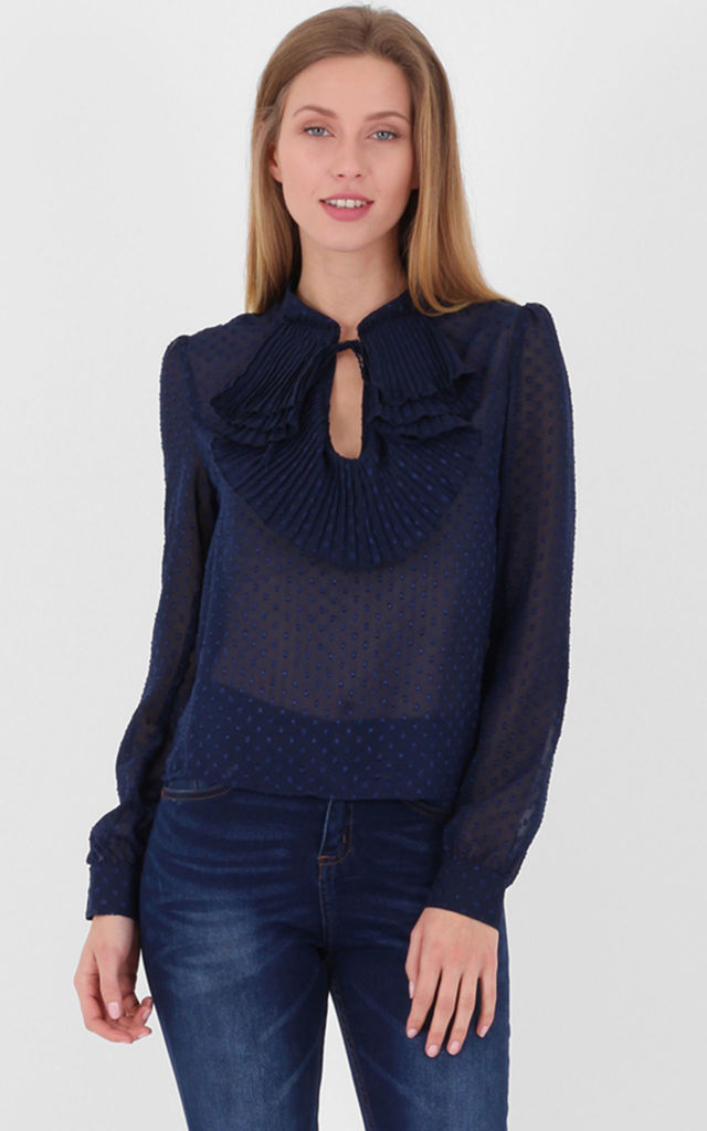 Navy Pleated Collar Long Sleeves Sheer Blouse by MISSTRUTH