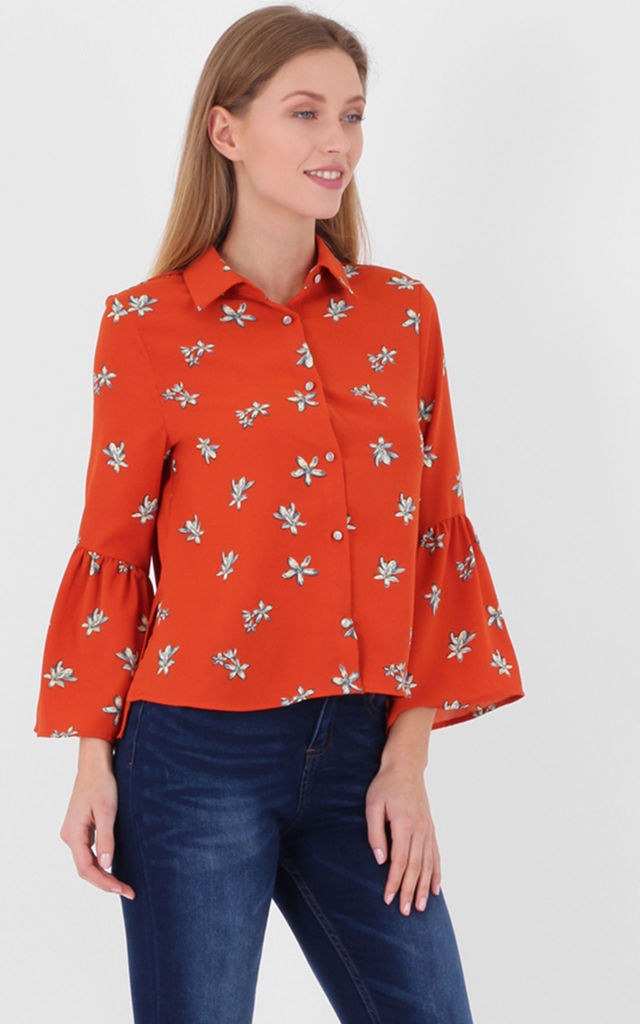 Red Floral Print Long Bell Sleeves Smock Top by MISSTRUTH