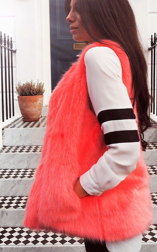 Avela Coral Faux Fur Gilet by Faux England