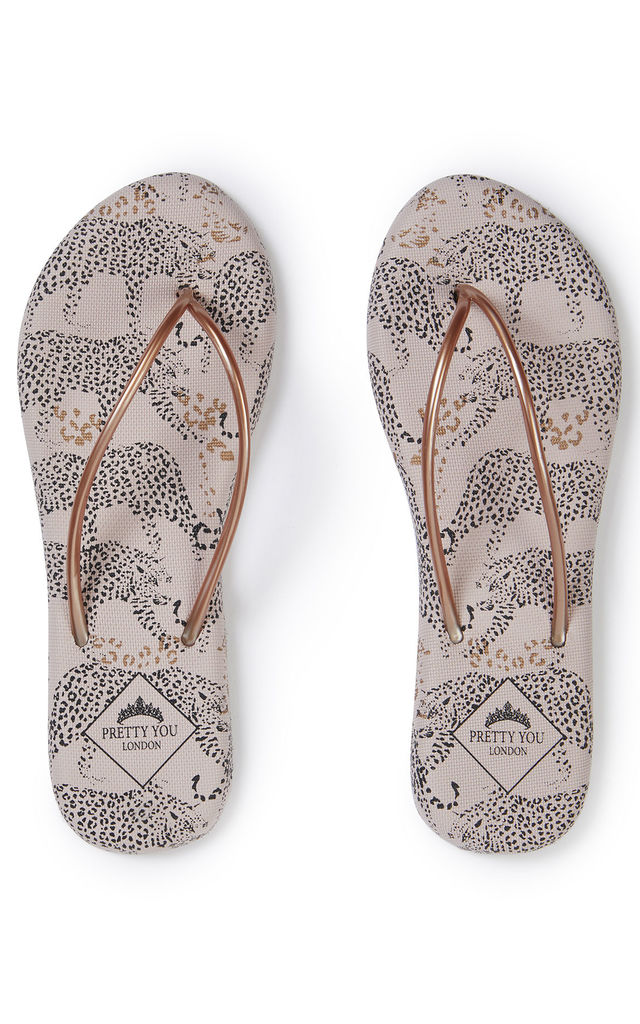 Womens Leopard Printed Flip Flops by Pretty You London