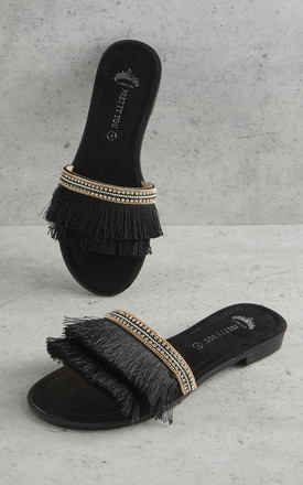 Fringe Sandals in Black by Pretty You London
