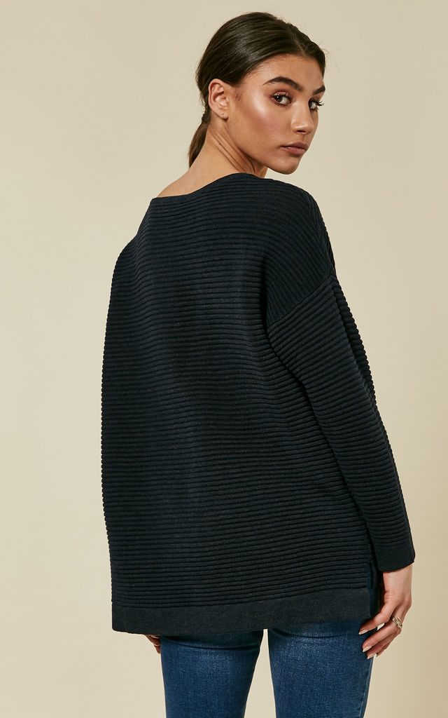 Dark Sapphire Long Sleeve Oversized Knit by Selected Femme