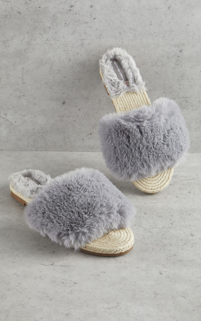 Womens Faux Fur Sandal Grey by Pretty You London