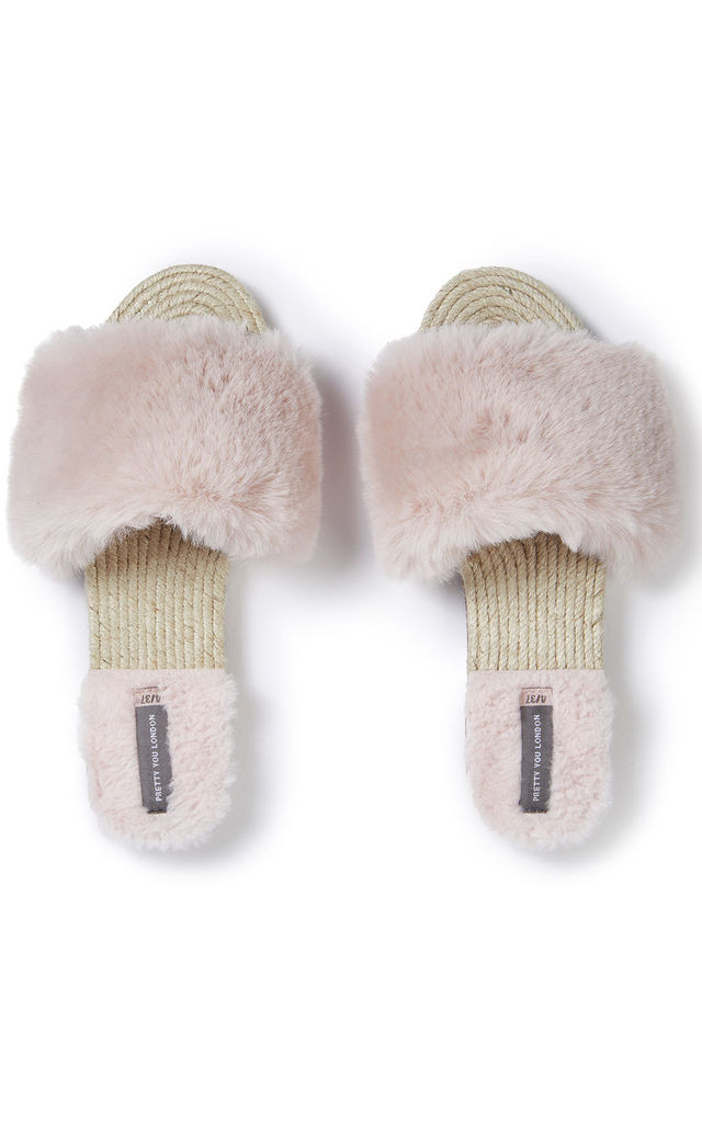 Faux Fur Sandals in Pink by Pretty You London