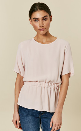 Sepia Short Sleeve Oversized Top With Tie Waist by Selected Femme