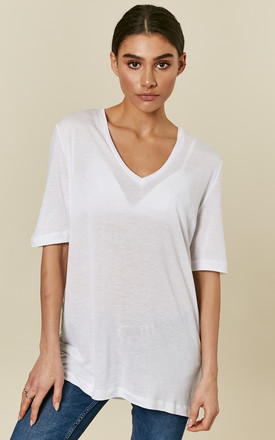 Bright White V Neck Tee by Selected Femme Product photo