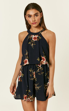 Ruby Double Layer Floral Playsuit Navy by Girl In Mind