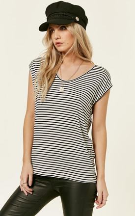 Bright White And Maritime Blue Stripe Tee by Pieces