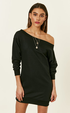 Black Off The Shoulder Sweatshirt Dress by Bella and Blue Product photo