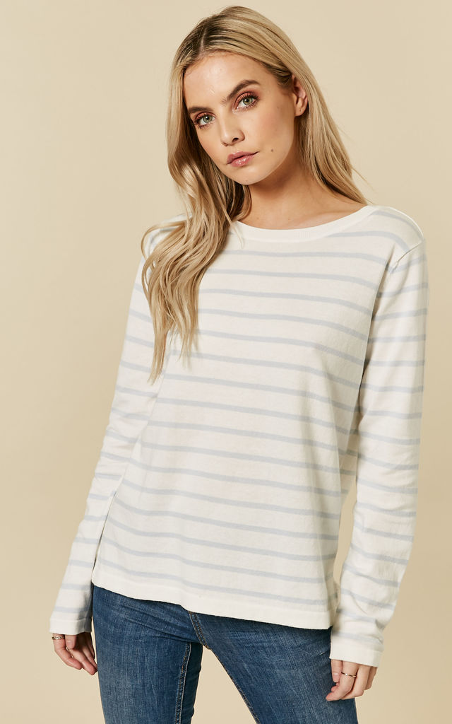 White And Light Blue Stripes Knit Top by VILA