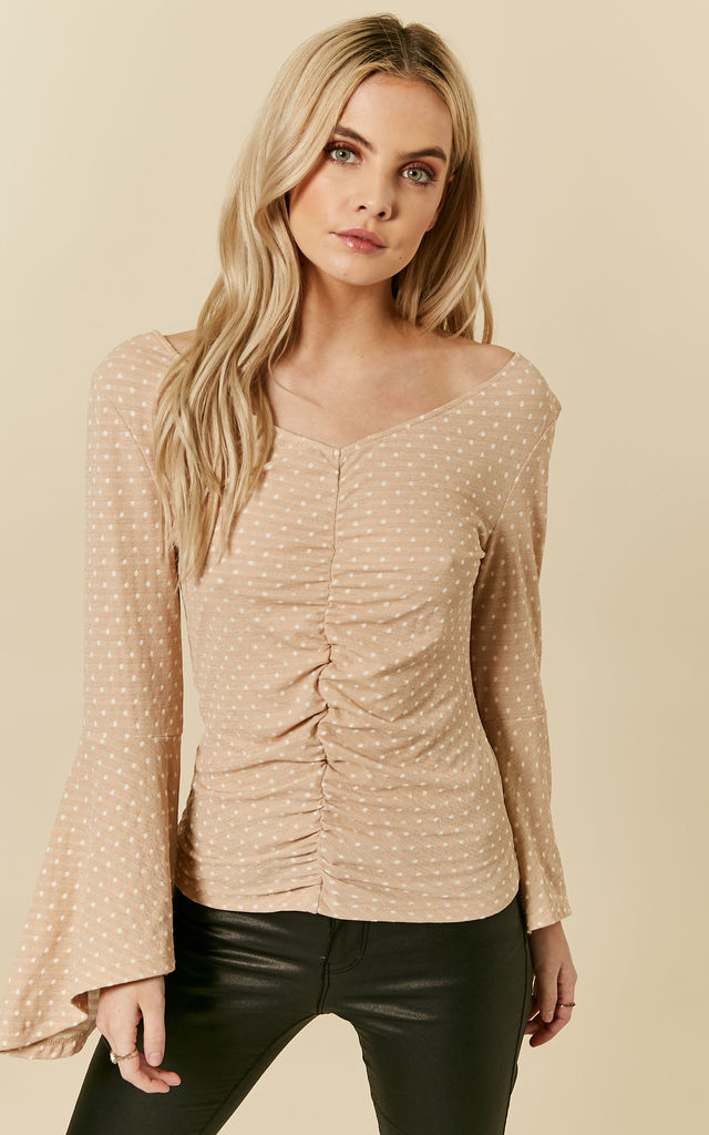 Nude Polka Dot With Bell Sleeves Top by Oeuvre