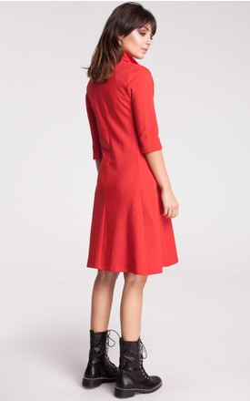 Red A line midi dress with pockets by MOE