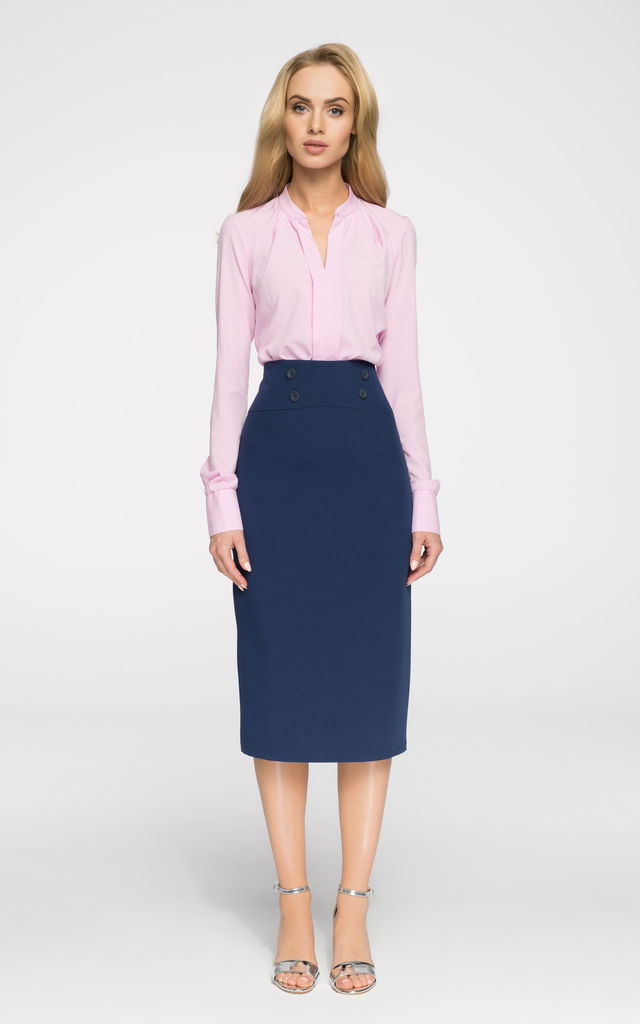 ae06dc9b8e Navy blue simple pencil skirt with high waist and minimalist button by MOE