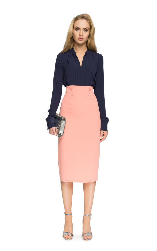 Salmonpink simple pencil skirt with high waist and minimalist button by MOE