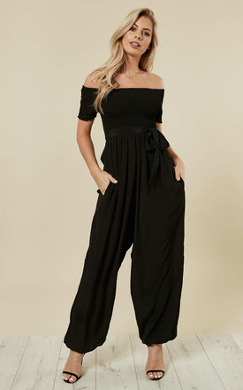 Bardot Silk Look Jumpsuit Harem Off Shoulder Black by likemary Product photo
