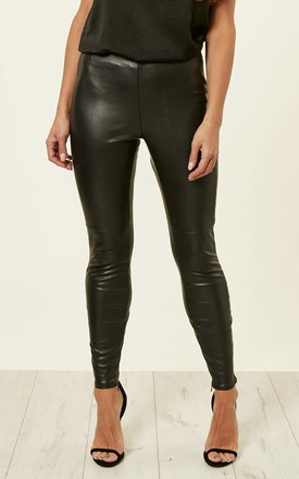 Black Pu Leather Leggings by VILA Product photo