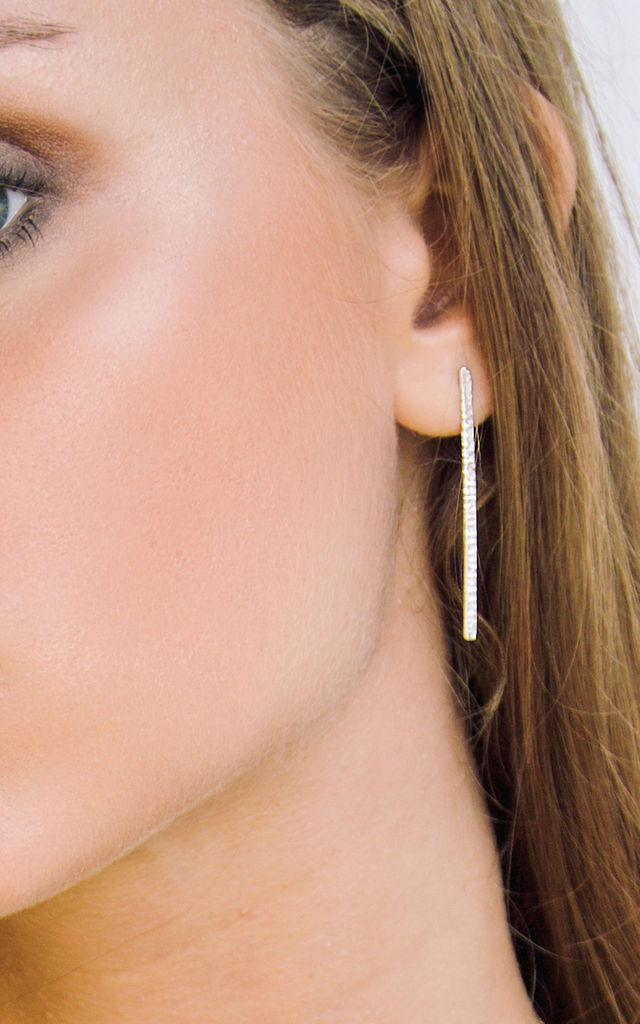 Battered bar earrings silver by House Thirteen