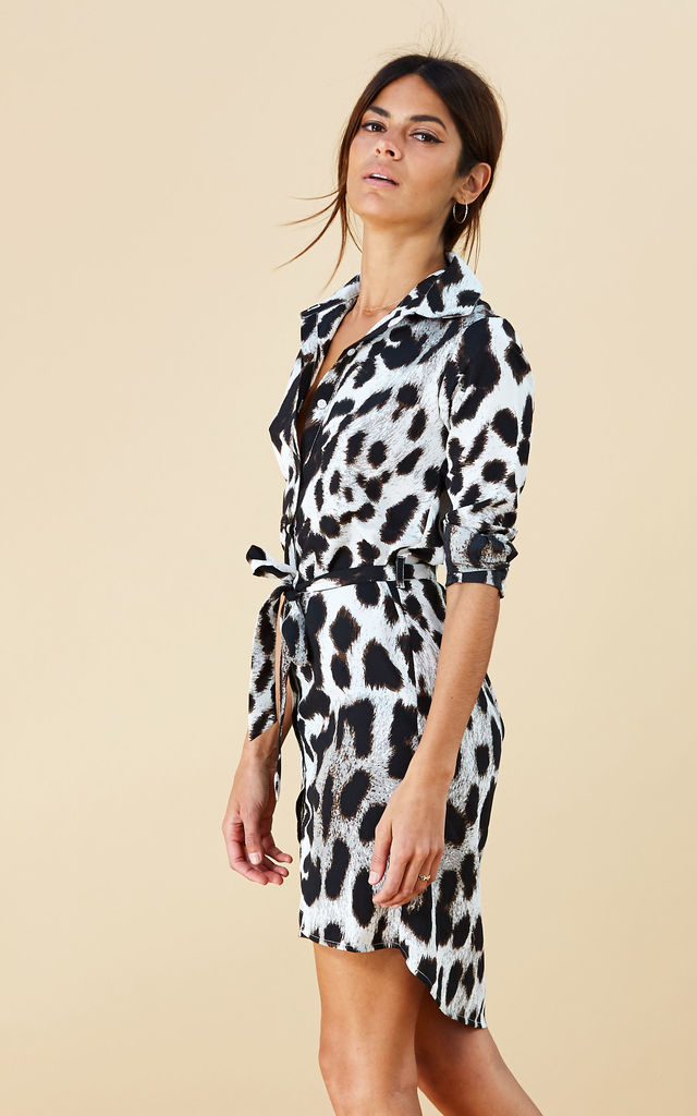 MINI SHIRT DRESS IN GREY LEOPARD image