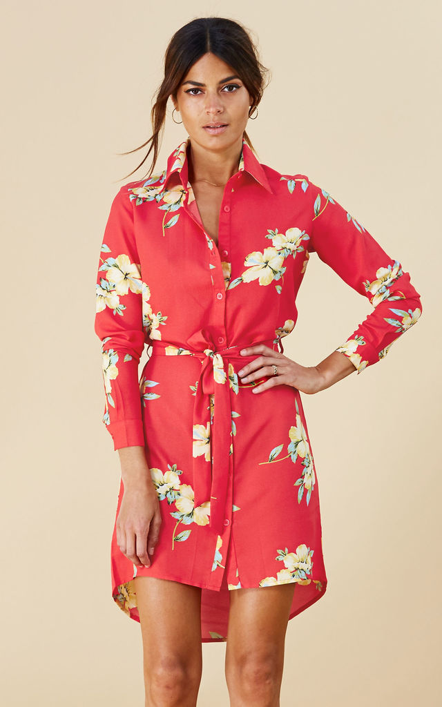 MINI SHIRT DRESS IN HIBISCUS image