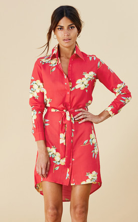 Mini Shirt Dress In Hibiscus by Dancing Leopard Product photo