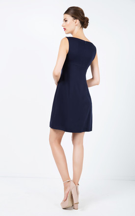 Navy Blue Sleeveless Empire Line Dress by Conquista Fashion