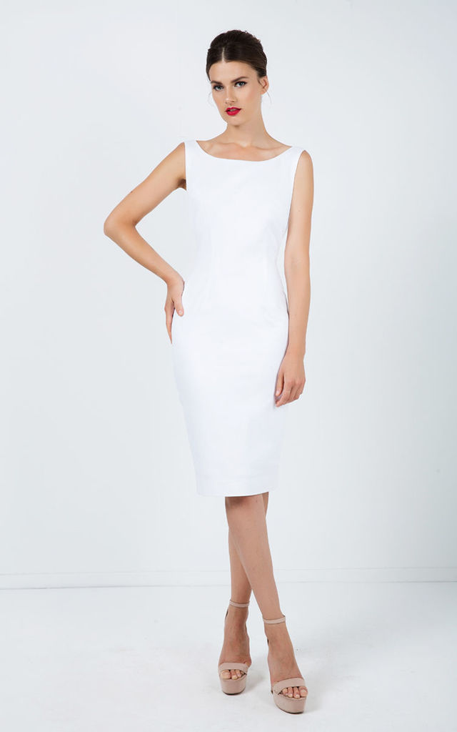 Fitted Sleeveless Dress with Two-Way Zip by Conquista Fashion