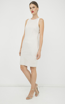 Sand Colour Sleeveless dress with Contrast Detail by Conquista Fashion