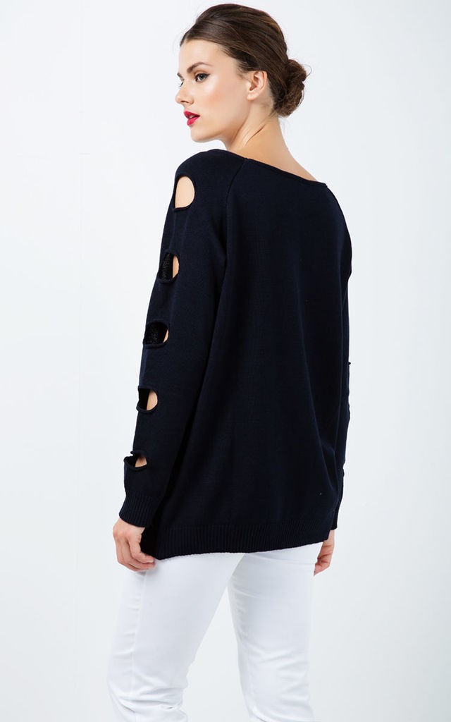 Hole Detail Loose Blue Sweater by Conquista Fashion