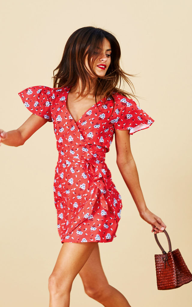 MAE DRESS IN RED DAISY image