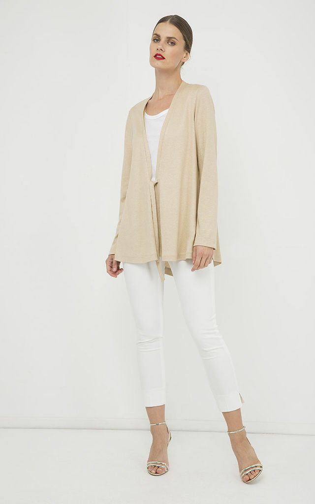 Beige Open Front Linen Cardigan by Conquista Fashion