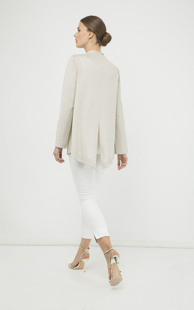 Open Front Linen Cardigan by Conquista Fashion