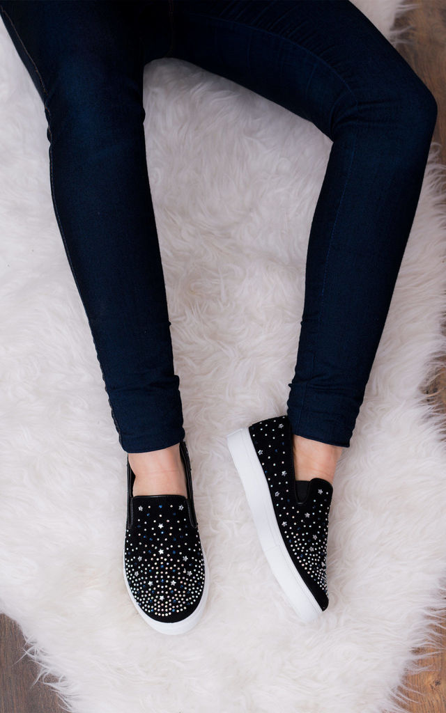 BLING BLING Star Diamante Flat Loafer Shoes - Black Suede Style by SpyLoveBuy