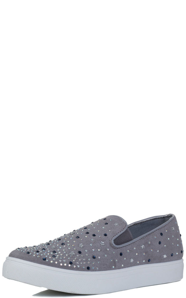 BLING BLING Star Diamante Flat Loafer Shoes - Grey Suede Style by SpyLoveBuy