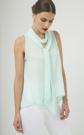Light Green Sleeveless Top with Tie Neck by Conquista Fashion