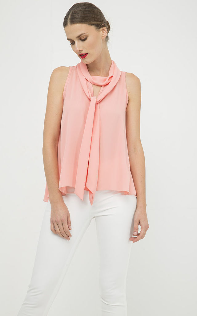 Peach Sleeveless Top with Tie Neck by Conquista Fashion