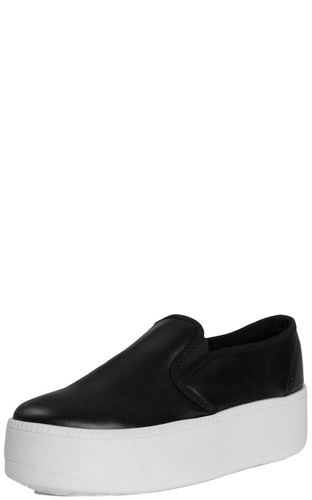 BOLDLY GO Flat Platform Flatform Chunky Loafer Slip On Trainers Shoes - Black Leather Style by SpyLoveBuy