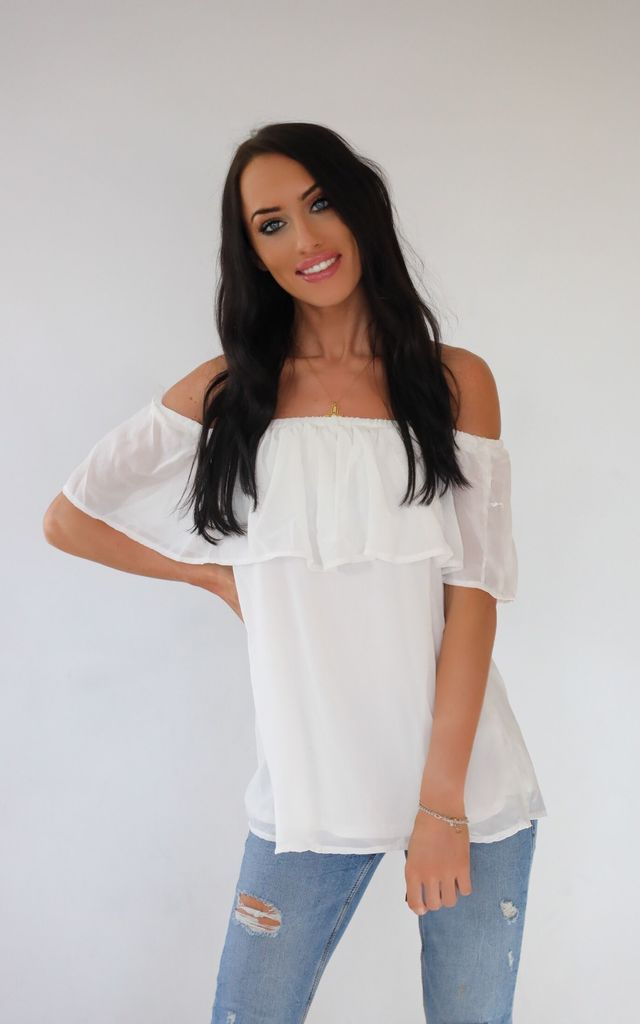 5c6bc00c826cfa Mia Off The Shoulder Frill Top White by Wired Angel