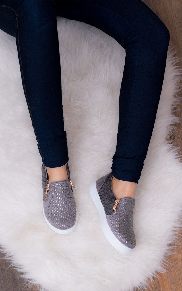 PICTURE PERFECT Diamante Flat Trainers Shoes - Grey Leather Style by SpyLoveBuy