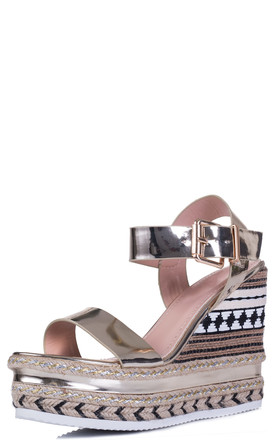 PECKER UP Hessian Espadrille Platform Wedge Heel Sandals Shoes - Gold Leather Style by SpyLoveBuy