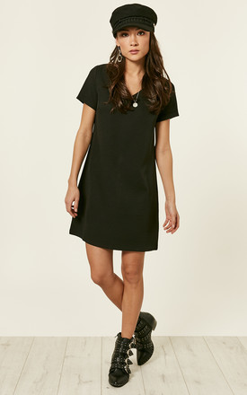 7b6f289704 Black Short Sleeve Aline Dress