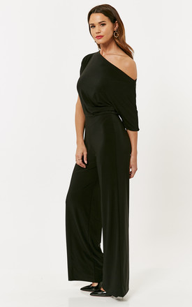 Black Amy One Shoulder Wide Leg Jumpsuit by Pleat Boutique
