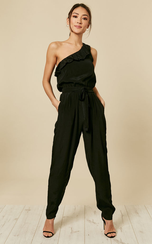 55a2a2925dda One Shoulder Ruffle Jumpsuit Black | likemary | SilkFred