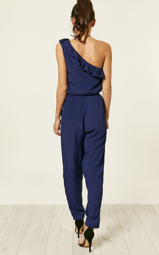 One Shoulder Ruffle Jumpsuit Blue by likemary