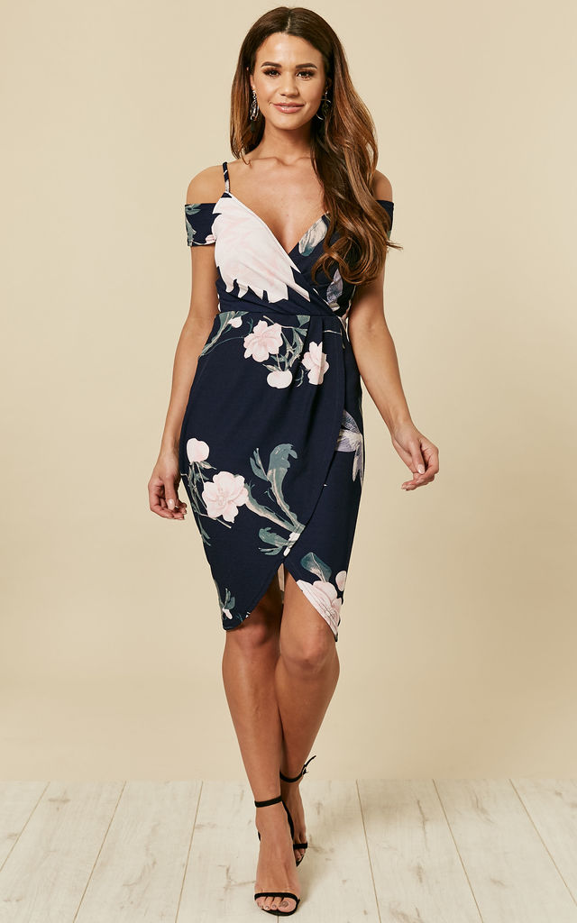 91a69a63e22c NAVY FLORAL BODYCON WRAP DRESS by AX Paris