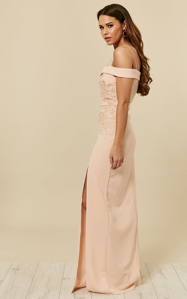 e4866c1aee3b NUDE CROCHET DETAIL DOUBLE STRAP MAXI DRESS by AX Paris