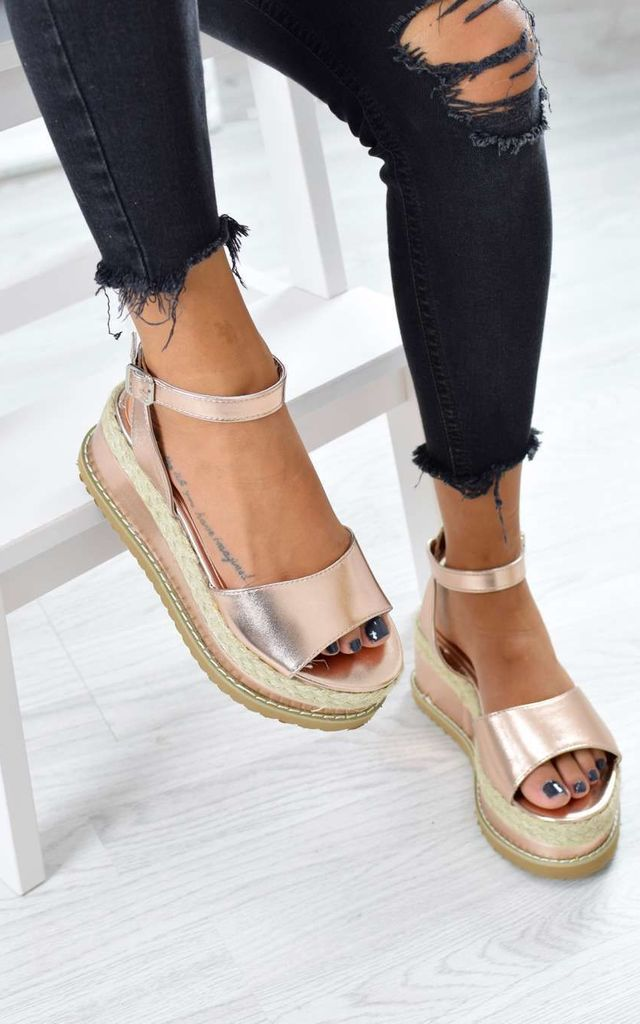 e2069b6b26190 Braided Espadrille Wedge Sandals - Rose Gold Metallic by AJ